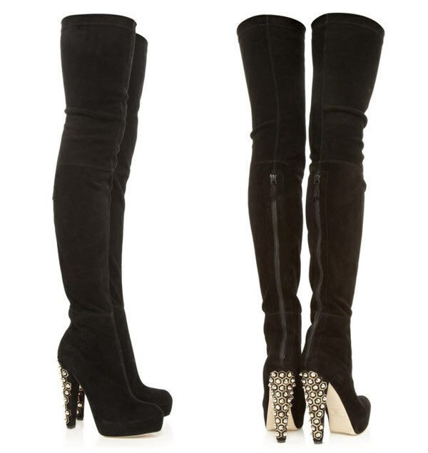 BRIAN ATWOOD BOOTS BLACK SUEDE BRONSKI THIGH-HIGH BOOTS ATWOOD 38.5 UK 5.5 US 8/8.5 7b81bc