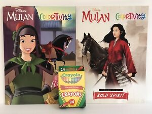 New-2-Disney-Princess-Mulan-Colortivity-Coloring-Activity-Books-amp-Crayons