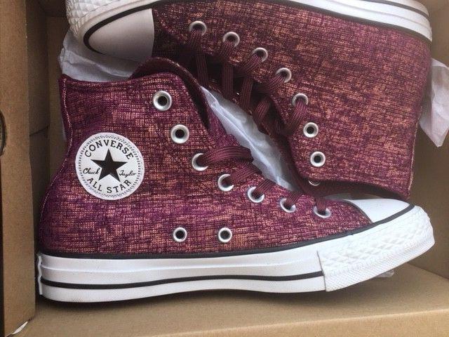 Converse cons Chucks ctas Sparkle Knit Hi Deep Deep Deep burdeos 553412c gr 36, 5  clásico atemporal