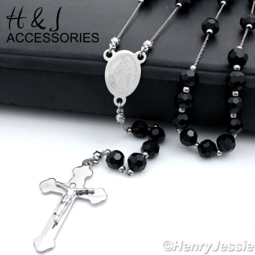 """26+5/""""MEN Stainless Steel 6mm Silver Black Onyx Beads Cross Rosary Necklace*RN12"""