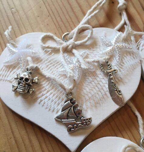 Nautical Pirate Hanging Decorations X 1 Shabby Chic Wood Metal Embellishments