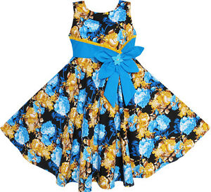Girls-Dress-Bohemia-Gold-Blue-Bow-Tie-Everyday-Summer-Clothes-Size-6-12