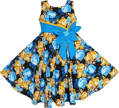 Sunny Fashion Girls Dress Bohemia Gold Blue Bow Tie Everyday Summer Clothes 6-12