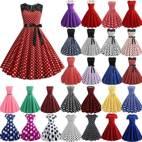 Womens Vintage Polka Dot Retro 50s Rockabilly Evening Party Swing Skater Dress