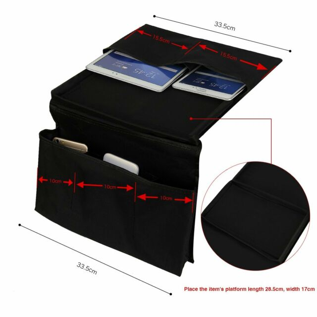 Sofa Couch Arm Rest Organizer Storage Remote Control Holder Tray Bag 6 Pockets