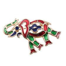 Broche Elephant Animal Email Vert Rouge  Retro Doré Original XZ 3