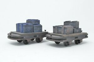 16mm-scale-32mm-Gauge-Flat-Wagons-x-2-with-crate-loads