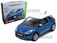 CITROEN DS3 1:32 scale Model Diecast Car Metal KIT Burago Die Cast Models Blue