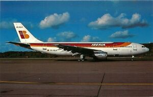 IBERIA AIRLINES AIRBUS 300B4-120 AT ZURICH AIRPORT IN 1986 POSTCARD