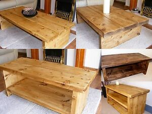 Image Is Loading Rustic Chunky Coffee Table Tv Stand Side