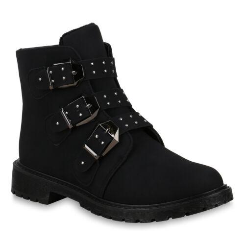 Damen Stiefeletten Warm Gefütterte Biker Boots Nieten Schnallen 825577 Schuhe
