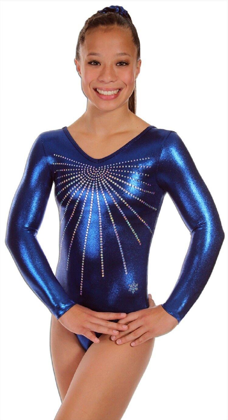 NEW   Adult Small bluee Glitz Gymnastics Comp Leotard by Snowflake Designs
