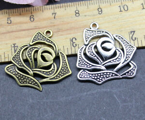 10-30pcs-27x28mm-Antique-silver-lovely-delicate-absorbing-roses-charm-pendant