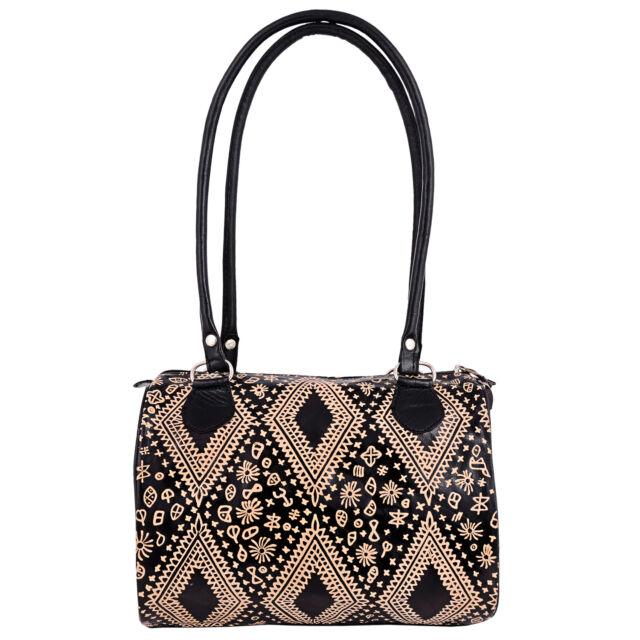 Famous Indian Shantiniketan Genuine Leather Bag Handbag Hand Tooled Painted 7c954d4b09446