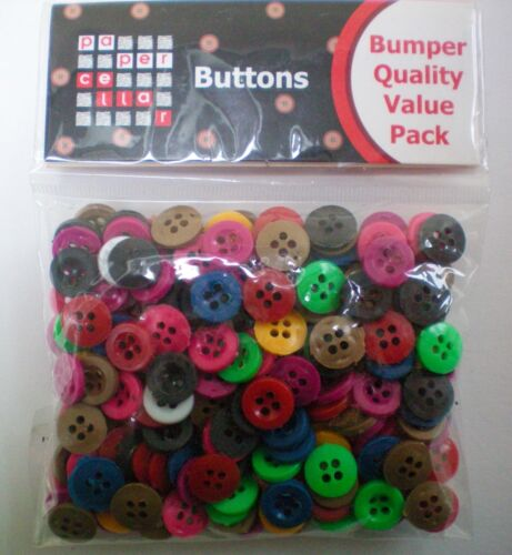 200 11mm Buttons Mixed Assorted Bumper Pack Craft Black White Blue Card Making