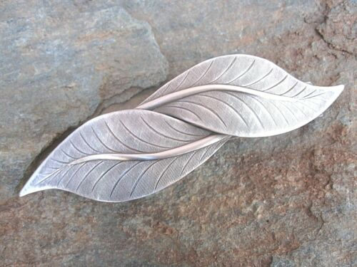 Antiqued Silver Plated Leaf French Clip Hair Brass Barrette 80MM CLIP  028S  NEW
