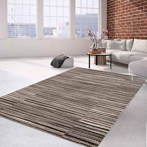 Das Bild Wird Geladen Teppich Flachflor Modern Meliertes Streifen Muster In  Creme