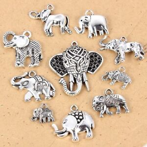 10-Mixed-Tibetan-Silver-Tone-Animal-Elephant-Charms-Pendants-DIY-Jewelry-Gift