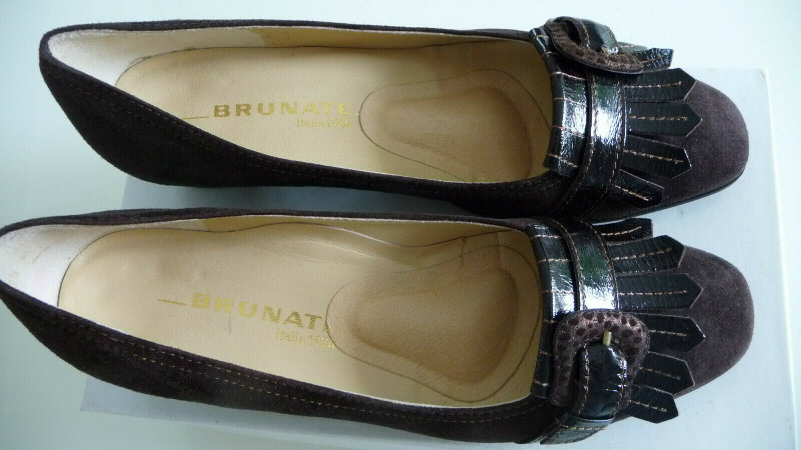 NEU BRUNATE-30329 Damen Schuhe Gr. 38,5 Slipper Halbschuhe Pumps Wildleder braun