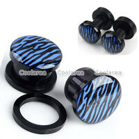 "Pair 6g-1/2"" Blue Zebra Screw Acrylic Ear Tunnels Plugs Expander Stretcher Gauge"