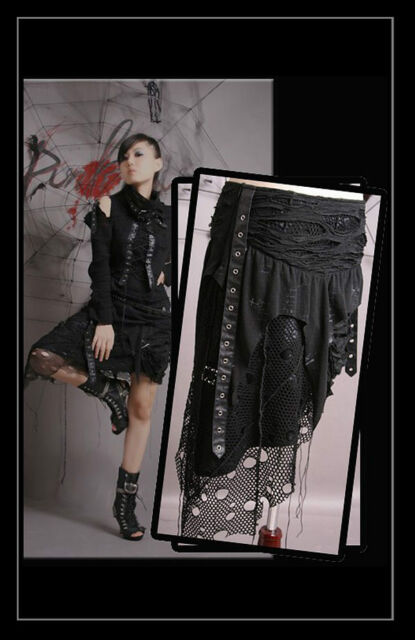 New Punk Rave Gothic Ripped Net Skirt Q-098 ALL STOCK IN AUSTRALIA!