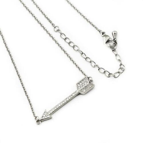 Arrow CZ Pendant Silver Necklace