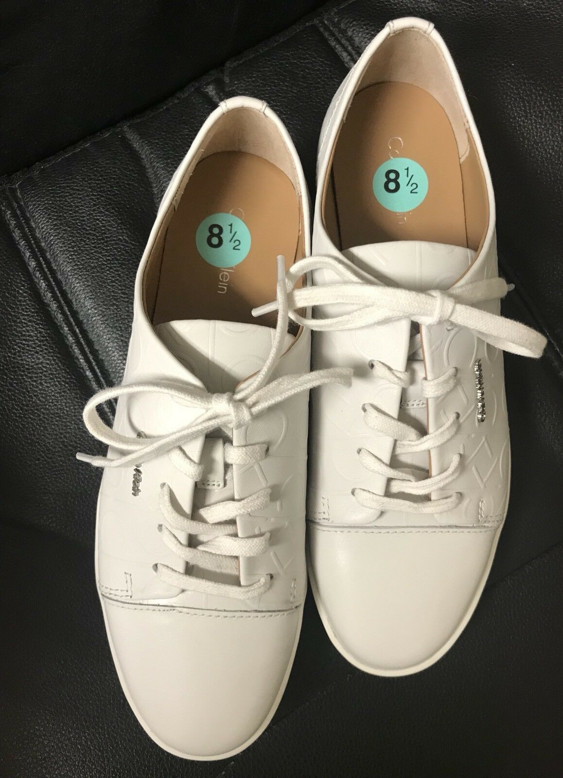 Calvin Klein Women's White Leather Lace Up Fashion Shoes Sneakers Size 8.5 New