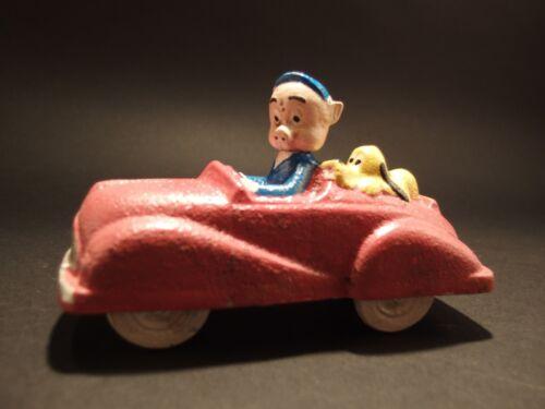 Antique Vintage Style Cast Iron Pink//Purple Pig Car