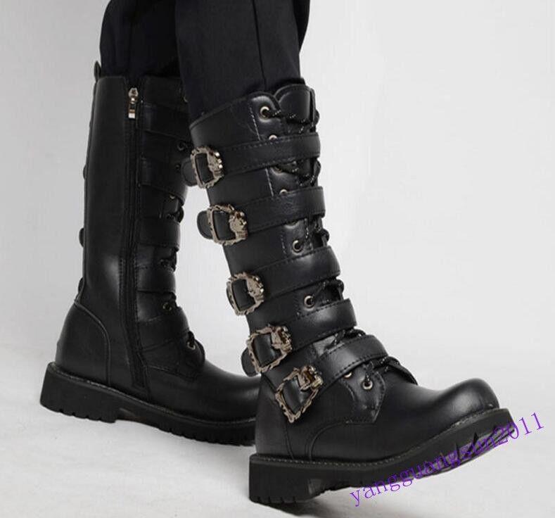 New Fashion Uomo Uomo Uomo Shoes Punk Rock Goth Side Zip Nero Knee High Stivali Buckle Size 03faac