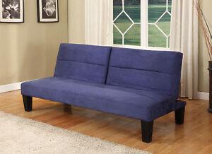 Blue Microfiber Split Back Adjustable Back Klik Klak Sofa ...