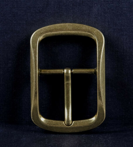 Solid Brass Classic Pin Belt Buckle for Leather Belt Replacement Fit 40mm Strap