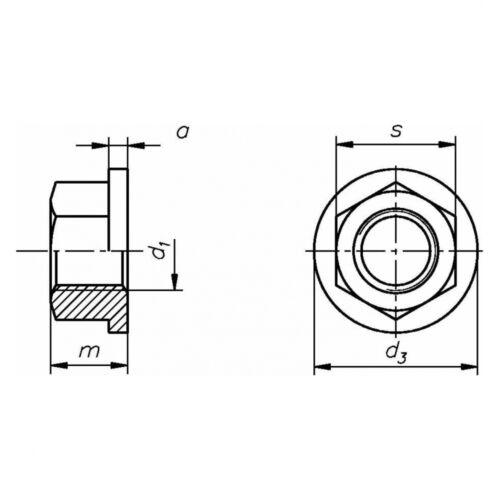 5x DIN 6331 Sechskantmuttern mit Bund M 12 Stahl Klasse 10 blank Höhe 1.5 d