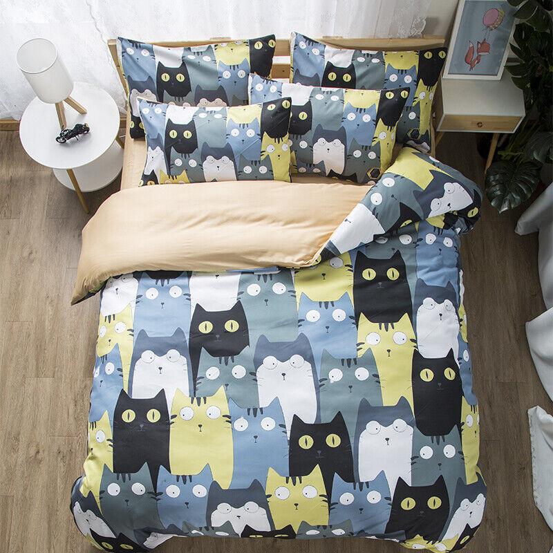 Cute Cats Pattern Home Dorm Bedding Duvet Cover Set+2pcs Pillow Case US AU UK