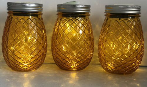 Battery Including Solar Powered Pineapple Glass Jar LED Table Light Set of 3