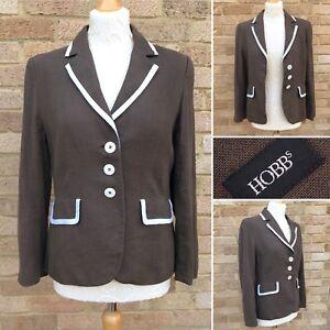 Hobbs-Linen-Jacket-UK-12-Chocolate-Brown-Lined-Smart-Suit-Blazer-Work-Office