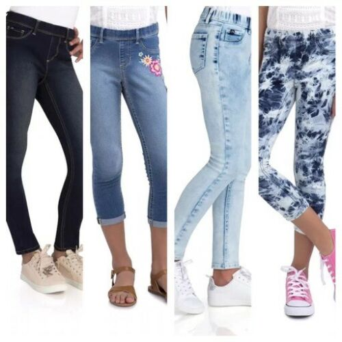 Jordache Girls med L XL Jegging Denim Jeans Leggings Blue Tie Dye Embroidered