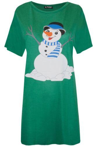 Womens Ladies Christmas Santa Baggy Gingerbread Climb Star Snowman T Shirt Dress