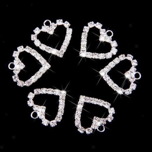 20pcs Silber Kristall Herz Charm Anhänger Schmuck Armband Halskette