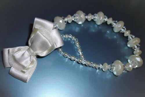 Ivory Pearl Special Occasion Romany Crystal Bling Baby gift dummy clip chain