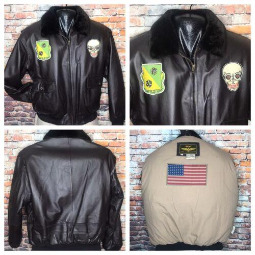 Brown Leather G 1 Bomber Flight Pilot Jacket Mens