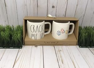 NEW Rae Dunn Set Easter Spring CRACK ME UP  & Easter Eggs Mugs Farmhouse Set - 2