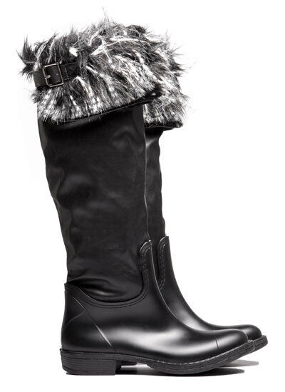 Ladies Pipduck Festival Fur Trimmed Black Wellies Size 3.5 -   Now