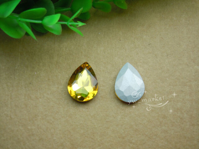 50 PCS 18mm x 25mm Glass Clear/AB Tear Drop Faceted Glass Jewels