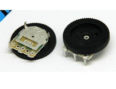 10pcs Volume Dial Dual Wheel Duplex Potentiometer B503 50K Radio 2-Channel Stere
