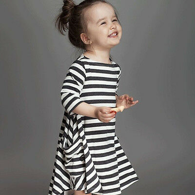 Hot Kids Baby Girls Long Sleeve Striped Dress Irregular Casual Tops Dresses 2-7Y
