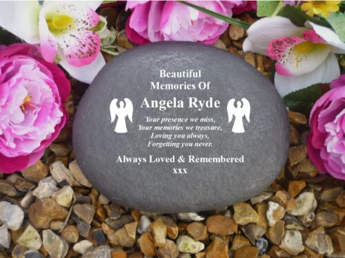 Grave Marker Weatherproof Angel Personalised Large Pebble Stone Effect