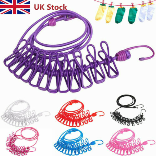Camp Rope Cloth Colorful Spring Clip Washing Line Dryer Clothes Travel New UK