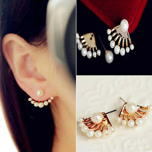 Fashion-Women-Pearl-Ear-Stud-Earrings-Front-and-Back-Double-sided-Jewelry-Gift