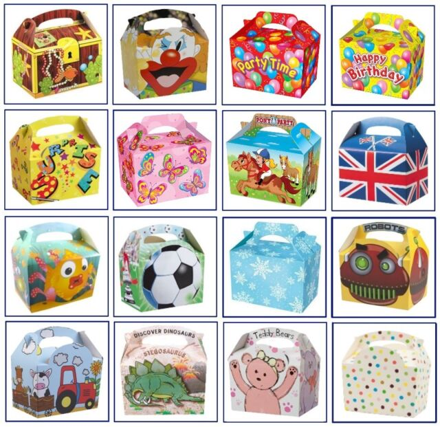 10 X Children Themes Snack Food Meal Boxes Birthday Party Gift Bag Box