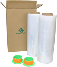 2 Pack 1500ft Industrial Clear Stretch Wrap Film 70 Gauge 15 With 3 Inch Plast